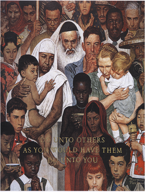 Rockwell painting - diverse group of people