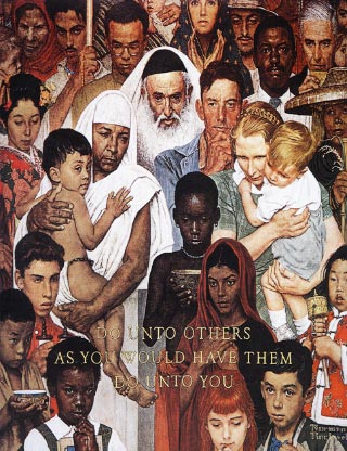 Painting of people: Do Unto Others As You Would Have Them Do Unto You